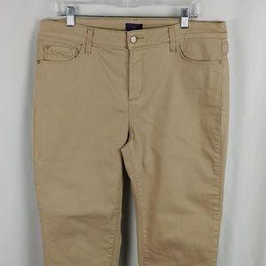 NYDJ Women's Tapered Leg Ankle Pants Tan SZ 14